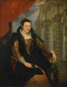 Portret van Isabella Brant (1591-1626) in de tuin van Rubens' huis te Antwerpen