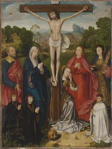 Christus aan het kruis met de heiligen Petrus, Maria, Maria Magdalena, Johannes de Evangelist en Barbara, met drie stichters