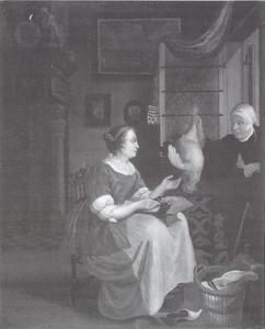 Interieur met handel in gevogelte in een venster