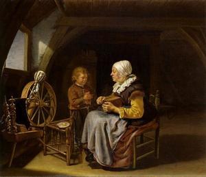 Vrouw die brood snijdt en een biddende jongen