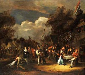Feestvierende boeren op een dorpskermis