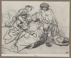 Drie boeren rond een zittende vrouw