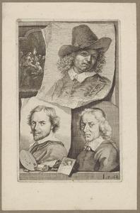 Portretten van Leonaert Bramer (1596-1674), Dirk van Hoogstraten (....-1640) en Salomon de Bray (1597-1664)