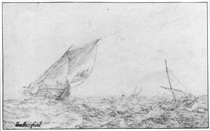 Zeilschepen op woelige zee