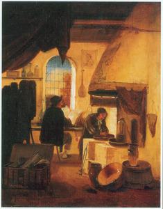 Een alchemist met een assistent in zijn werkplaats