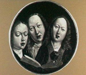 Drie zingende engelen (op de achterzijde: Twee putti met wapenschild)