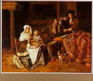 Burgerfamilie in een interieur