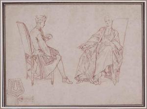 Elegant kaartspelend paar, en studie van kant