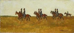 Huzaren in open veld