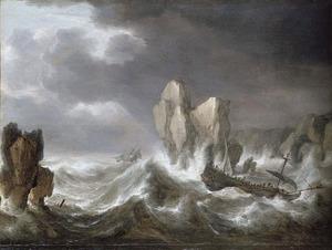 Schepen op een stormachtige zee nabij een rotskust
