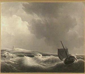 Zeilboot bij stormachtig weer