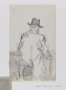 Schetsblad met portret van een man in de kroeg