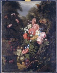 Stilleven van bloemen en vruchten in een tuin
