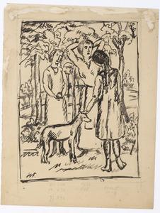 Vrouwen met windhond in het park