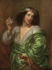 Portret van een jonge man in antiek kostuum met viool en een vrouwenminiatuur in de hand