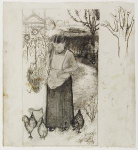 Annie Mankes-Zernike, kippen voerend: rechts studies van een boom en kippen