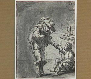 Lazarillo deelt zijn bij elkaar gebedelde maaltijd met zijn meester (Lazarillo de Tormes dl. 1, cap. 13, p. 38)