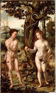 De zondeval: Eva geeft Adam de appel (Genesis 3:4-6)