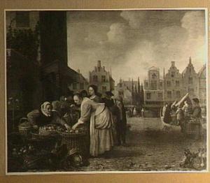 De grote markt van Rotterdam, gezien vanuit de Wijde Marktsteeg