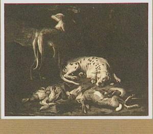 Twee honden bij een jachtbuit van haas en gevogelte