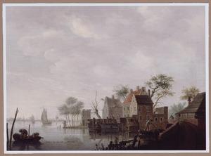 Rivierlandschap met enkele huizen op de rechteroever, op de achtergrond zeilboten