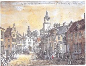 Vismarkt (thans Große Straße) in Kleef met de Middelpoort en de Schwanenburg