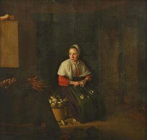 Knollen schillende vrouw in een interieur