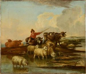Herder met kudde aan de oever van een rivier