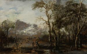 Boslandschap met jager