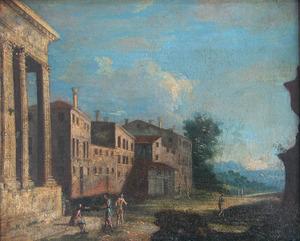 Stadsgezicht met antieke tempel