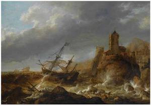 Schepen in een storm bij een rotsige kust met kasteel. Op de voorgrond komen schipbreukelingen aan land