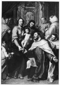 De Madonna met het kind temidden van Karmelieter monniken