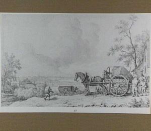 Weids landschap met paard-en-wagen