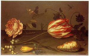 Bloemen en insekten op een stenen plint