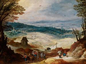 Panoramisch landschap met karren op een landweg