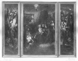 De gevangenneming van Christus (midden) en engelen met de martelwerktuigen (links en rechts)