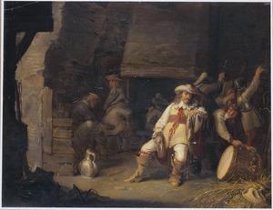 Interieur van een wachtlokaal met militia-soldaten