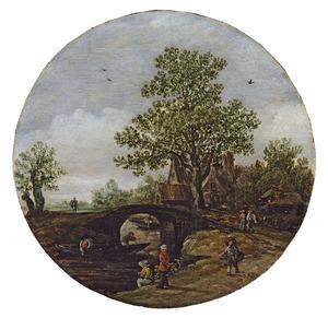 Landschap met hengelaars bij een brug