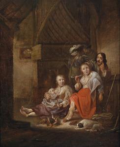 Interieur met figuren bij een vuur
