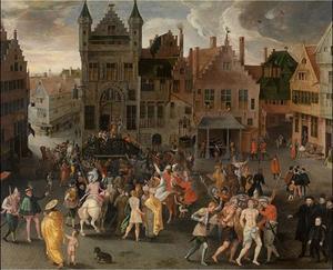Een passiespel op de Grote Markt van Antwerpen