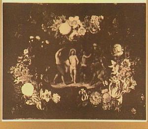 Bloemenkrans rond een voorstelling van de geseling van Christus