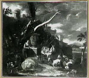 Herderin, pakezel en vee bij een antieke tuinvaas op een sokkel