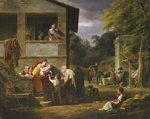 Blinde bedelaar en kleine jongen bij het huis van een rijke dame