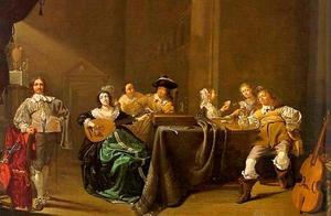 Elegant musicerend en kaartspelend gezelschap in een interieur
