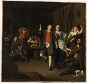Dansend en drinkend gezelschap in een herberg