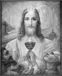 Zegenende Christus met Johannes de Doper en pastoor Kwakman