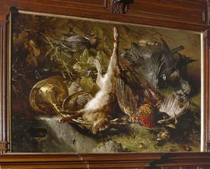 Stilleven met een haas liggend bij een jachthoorn