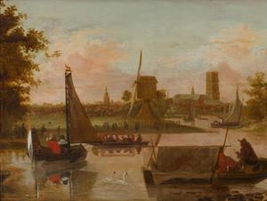 Gezicht op Rotterdam vanaf de Rotte