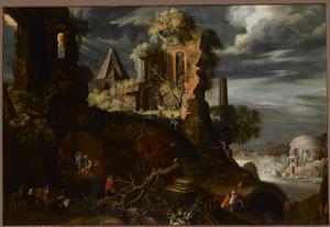 Zuidelijk landschap met ruïnes, dieren en figuren, op de voorgrond een doedelzakspeler