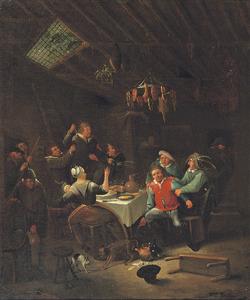 Vechtende boeren in een interieur